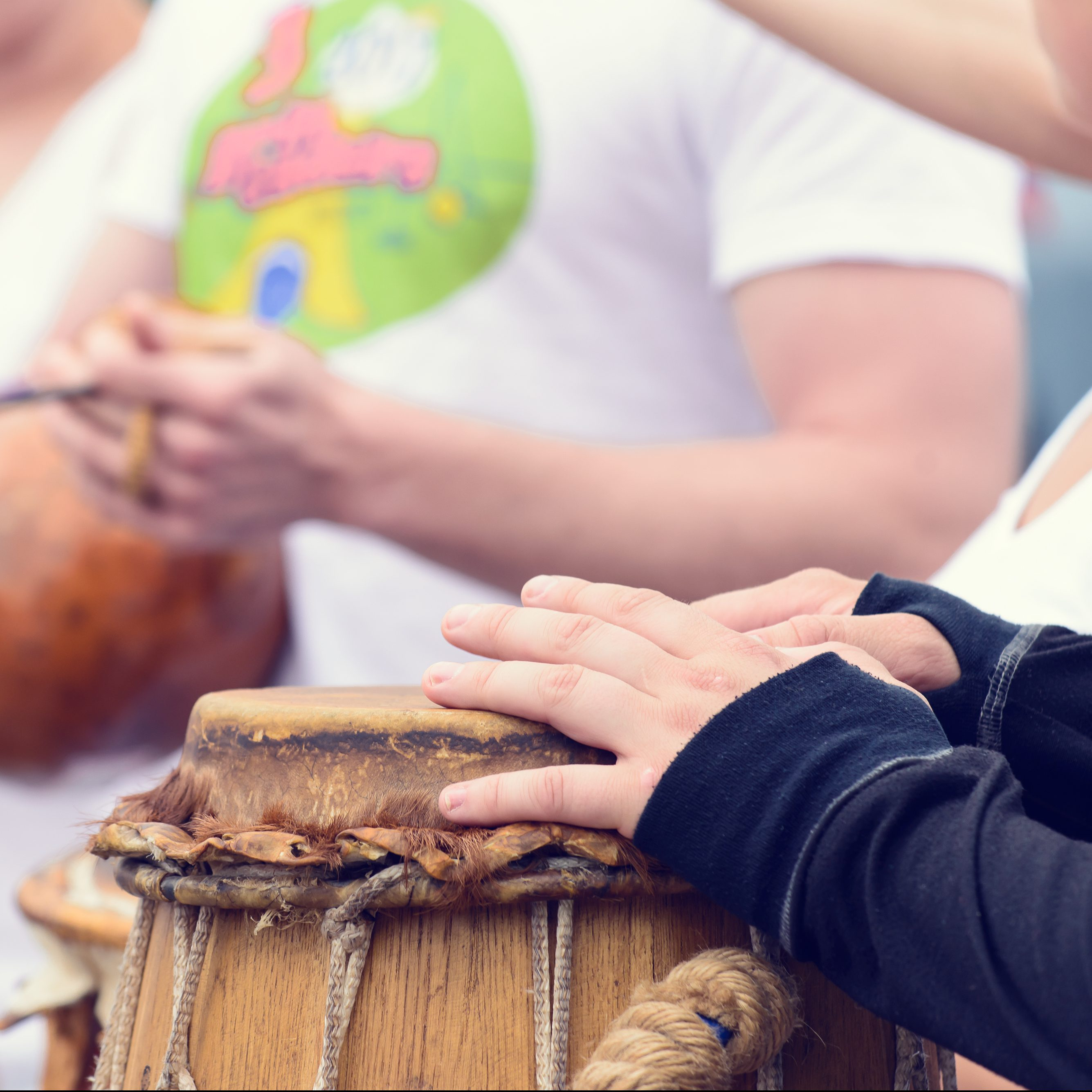 drummer with traditional Brazilian Drum and drum sticks, selecti